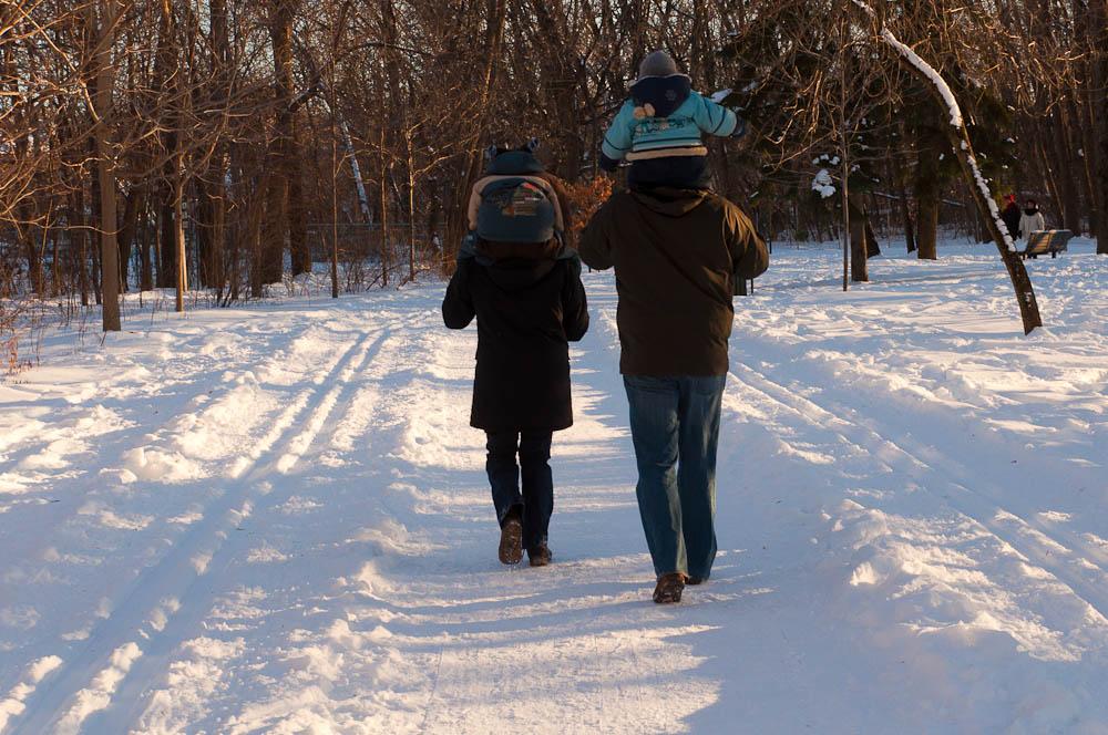 On marche entre les pistes de ski de fond